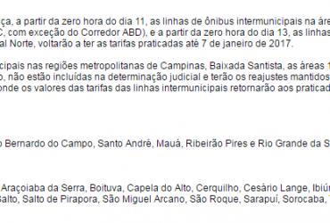 SUSPENSÃO DE REAJUSTE DE TARIFAS EMTU